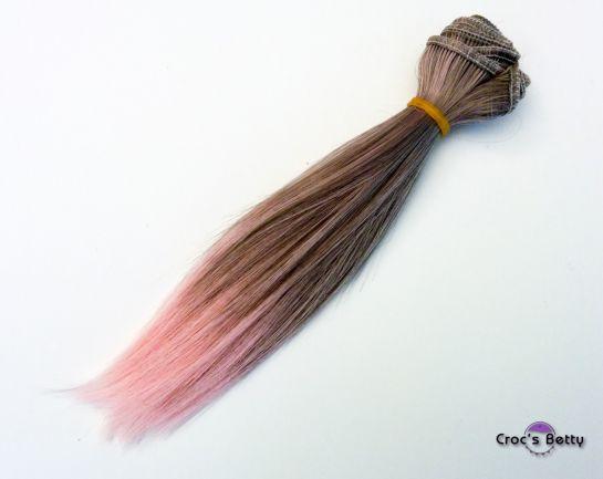 Cheveux Gris/Roses Raides - Cheveux Raides Bicolore Synthétiques 15cmx100cm