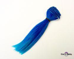 Cheveux Bleus/Bleus Raides Bicolores
