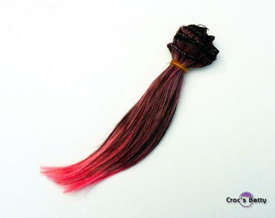 Cheveux Noirs/Roses Raides - Cheveux Raides Bicolore Synthétiques 15cmx100cm