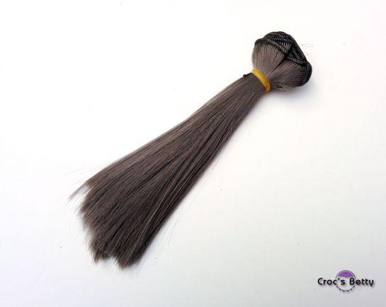 Cheveux Gris Foncé Raides