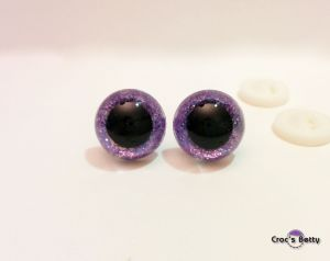 Safety Glitter Purple Eyes (2 pairs)